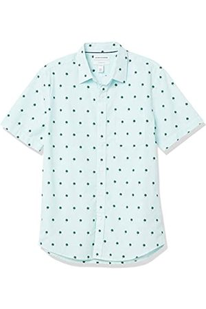 Amazon Short-Sleeve Slim-Fit Casual Poplin Shirt Button-Down-Shirts, Foglie di Palma a Righe, US