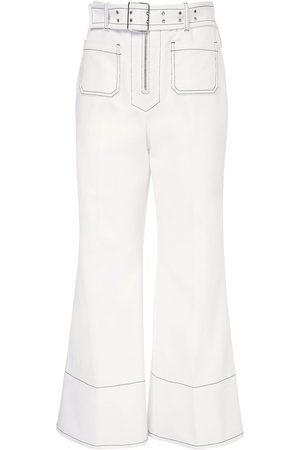 Miu Miu Pantaloni Cropped In Drill Di Cotone Con Cintura