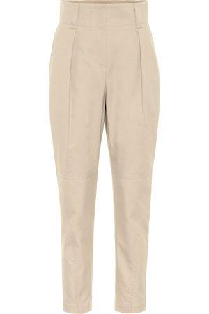 Brunello Cucinelli Pantaloni a vita alta in cotone e lana