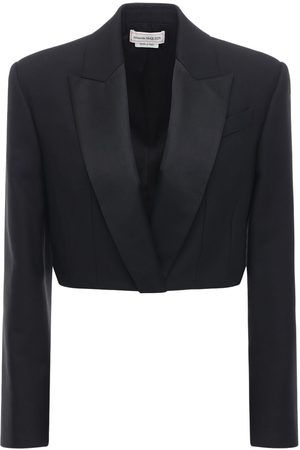 Alexander McQueen Giacca Cropped In Misto Lana