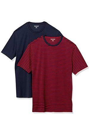 Amazon 2-Pack Slim-Fit Crewneck T-Shirt Fashion-t-Shirts, Red-Navy Stripe/Navy, US M
