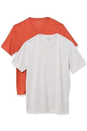 Amazon 2-Pack Slim-Fit V-Neck T-Shirt Fashion-t-Shirts, Orange Heather/Light Heather Grey, US M