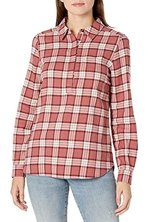 Goodthreads Brushed Flannel Popover Shirt Dress-Shirts, Dark Rose/ Plaid, US L