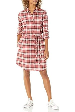Goodthreads Donna Vestiti casual - Brushed Flannel Shirt Dress Button-Down-Shirts, Dark Rose/ Plaid, US
