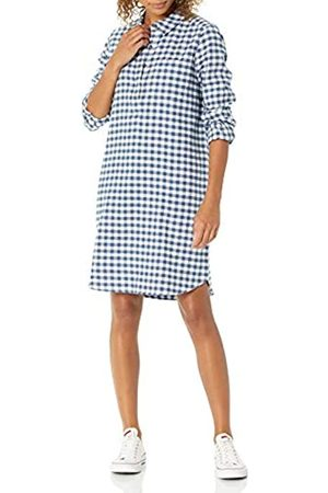 Goodthreads Brushed Flannel Popover Dress Button-Down-Shirts, Deep Blue/off White Mini Buffalo Plaid, US