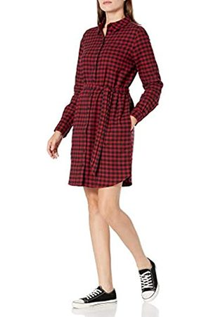 Goodthreads Donna Vestiti casual - Brushed Flannel Shirt Dress Button-Down-Shirts, Black/Deep Red Mini Buffalo Plaid, US XL