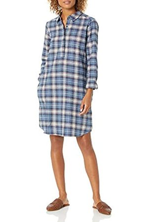 Goodthreads Brushed Flannel Popover Dress Button-Down-Shirts, Indigo Heather Plaid, US
