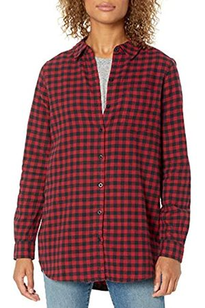 Goodthreads Brushed Flannel Boyfriend Tunic Button-Down-Shirts, Black/Deep Red Mini Buffalo Plaid, US XXL