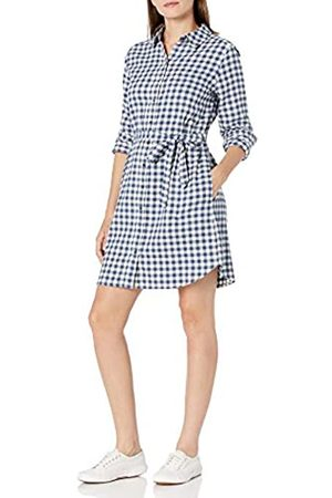 Goodthreads Brushed Flannel Shirt Dress Button-Down-Shirts, Deep Blue/off White Mini Buffalo Plaid, US L