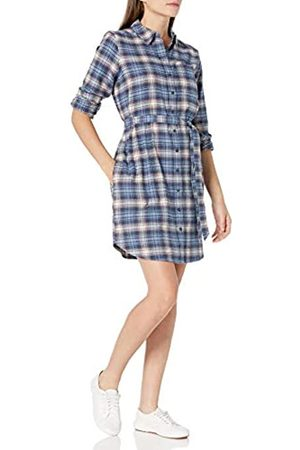 Goodthreads Brushed Flannel Shirt Dress Button-Down-Shirts, Indigo Heather Plaid, US S