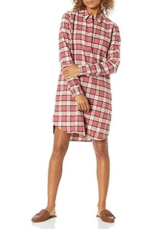 Goodthreads Brushed Flannel Popover Dress Button-Down-Shirts, Dark Rose/ Plaid, US M -L