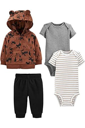 Simple Joys by Carter's 4-Piece Fleece Jacket, Pant, And Bodysuit Set Infant Toddler-Pants-Clothing-Sets, Brown Moose, Newborn