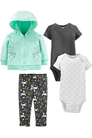 Simple Joys by Carter's Bambina Set - 4-Piece Fleece Jacket, Pant, And Bodysuit Set Infant Toddler-Pants-Clothing-Sets, Mint Unicorn, 12 Months