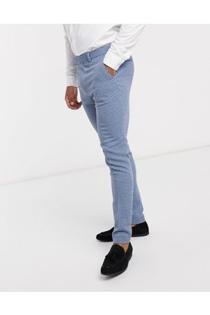 ASOS Wedding - Pantaloni da abito super skinny in misto lana pied de poule