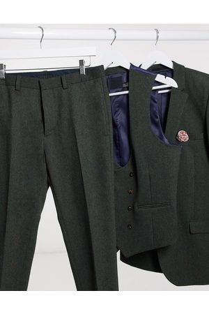 ASOS Wedding - Pantaloni da abito super skinny in twill di misto lana kaki