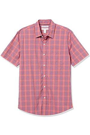 Amazon Short-Sleeve Slim-Fit Casual Poplin Shirt Button-Down-Shirts, Plaid Lavato e , US M