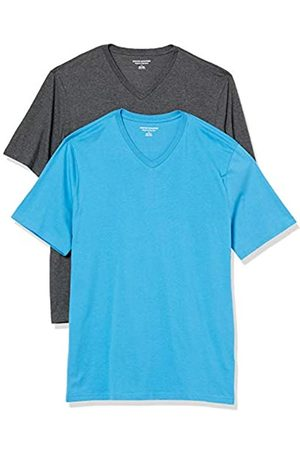 Amazon 2-Pack Loose-Fit V-Neck T-Shirt Fashion-t-Shirts, Imperial Blue/Charcoal Heather, US L