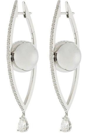 Cadar Donna Orecchini - Orecchini a cerchio in oro bianco 18kt e diamanti