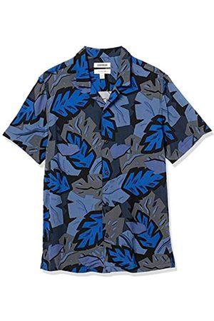 Goodthreads Uomo Casual - Camicia Hawaiana Slim Fit a Maniche Corte con Colletto da Campeggio Athletic-Shirts, Foglia , US L