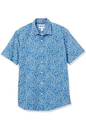 Amazon Uomo Casual - Short-Sleeve Regular-Fit Casual Poplin Shirt Button-Down-Shirts, Grande Motivo Floreale Navy, US