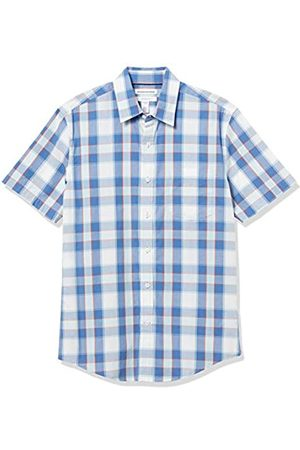 Amazon Uomo Casual - Short-Sleeve Slim-Fit Casual Poplin Shirt Button-Down-Shirts, A Quadretti / , US M