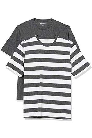 Amazon Set Composto da 2 Magliette a Girocollo a Maniche Corte Fashion-t-Shirts, Charcoal Heather And White Rugby Stripe/Charcoal Heather, US XXL