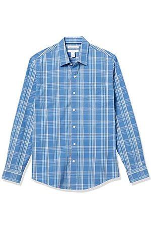 Amazon Camicia a Maniche Lunghe Slim Fit Casual Popeline Button-Down-Shirts, Acqua/Blue Check, US M