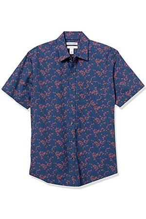 Amazon Short-Sleeve Slim-Fit Casual Poplin Shirt Button-Down-Shirts, Floreale, US S