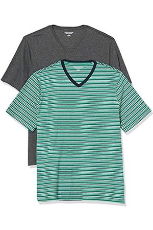 Amazon 2-Pack Loose-Fit V-Neck T-Shirt Fashion-t-Shirts, Green, Navy, Grey Heather Stripe/Charcoal, US
