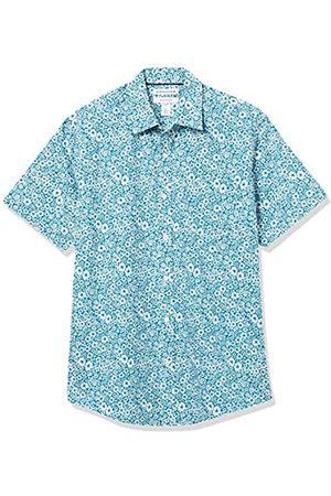Amazon Short-Sleeve Regular-Fit Casual Poplin Shirt Button-Down-Shirts, Fiori Medi Foglia di tè, US XXL