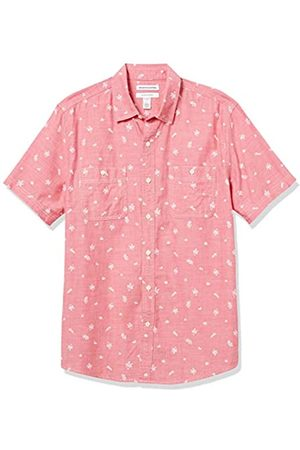 Amazon Short-Sleeve Regular-Fit Casual Poplin Shirt Button-Down-Shirts, Chambray Leaf – , US XXL