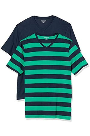 Amazon 2-Pack Loose-Fit V-Neck T-Shirt Fashion-t-Shirts, Green And Navy Rugby Stripe/Navy, US M