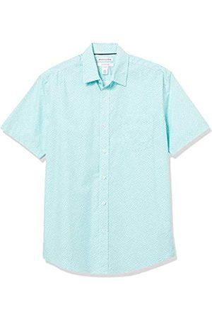Amazon Short-Sleeve Regular-Fit Casual Poplin Shirt Button-Down-Shirts, Piccole Foglie Floreali, US XXL