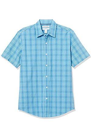 Amazon Short-Sleeve Slim-Fit Casual Poplin Shirt Button-Down-Shirts, Plaid / , US M