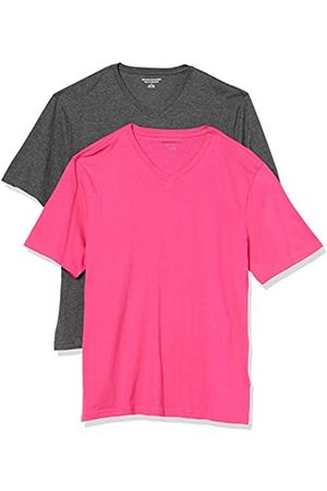 Amazon 2-Pack Loose-Fit V-Neck T-Shirt Fashion-t-Shirts, Hot Pink/Charcoal Heather Grey, US XXL