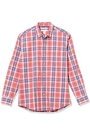 Amazon Camicia Casual a Maniche Lunghe in Popeline Button-Down-Shirts, Finestra Rossa Lavata, US L