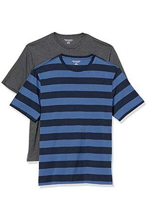 Amazon Set Composto da 2 Magliette a Girocollo a Maniche Corte Fashion-t-Shirts, Blue And Navy Rugby Stripe/Carbone Heather, US M