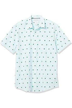 Amazon Short-Sleeve Regular-Fit Casual Poplin Shirt Button-Down-Shirts, Foglie di Palma a Righe, US L