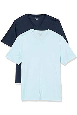 Amazon 2-Pack Loose-Fit V-Neck T-Shirt Fashion-t-Shirts, Light Blue/Dark Navy, US