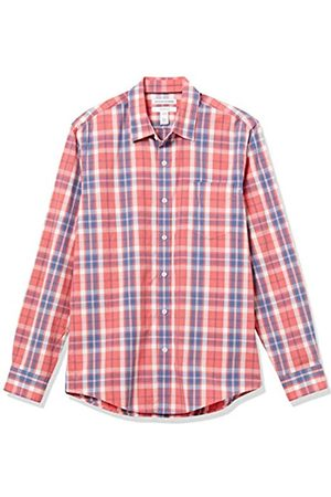 Amazon Camicia a Maniche Lunghe Slim Fit Casual Popeline Button-Down-Shirts, Finestra Rossa Lavata, US S