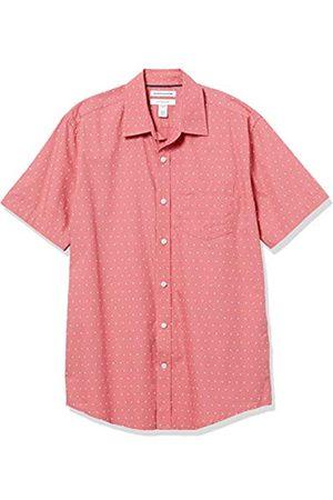Amazon Short-Sleeve Regular-Fit Casual Poplin Shirt Button-Down-Shirts, Corallo/Punto , US XXL