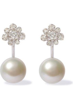 ANNOUSHKA Orecchini in 18kt Marguerite con diamanti e perle - 18ct White Gold