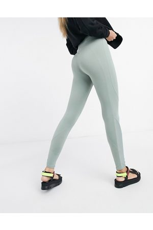 Weekday Donna Leggings & Treggings - Sidra - Leggings kaki con cuciture a contrasto