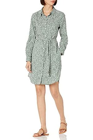 Daily Ritual Georgette Long-Sleeve Button Down Shirt Dress Dresses, Green Vine Leaf Print, US