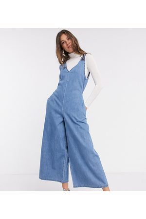 ASOS ASOS DESIGN Tall - Tuta jumpsuit larga con scollo a V in morbido denim