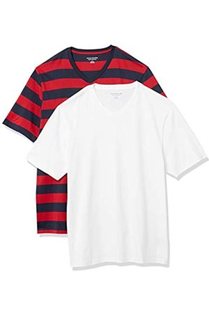 Amazon 2-Pack Loose-Fit V-Neck T-Shirt Fashion-t-Shirts, Red And Navy Rugby Stripe/White, US