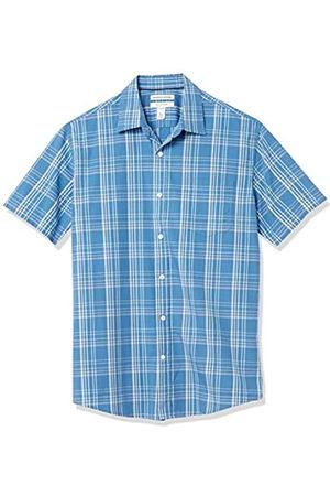 Amazon Short-Sleeve Regular-Fit Casual Poplin Shirt Button-Down-Shirts, Acqua/Blue Check, US