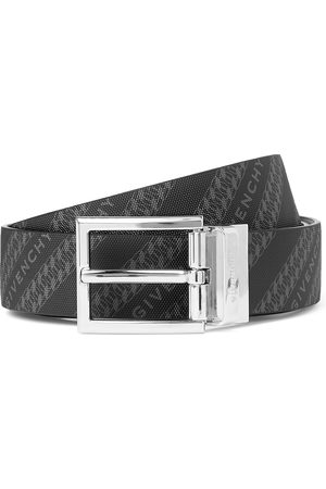 Givenchy Uomo Cinture - 3cm Reversible Logo-Print Canvas and Leather Belt