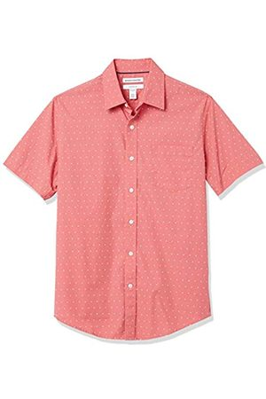 Amazon Short-Sleeve Slim-Fit Casual Poplin Shirt Button-Down-Shirts, Corallo/Punto , US XXL