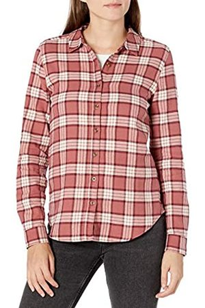 Goodthreads Brushed Flannel Drop-Shoulder Long-Sleeve Shirt Button-Down-Shirts, Dark Rose/ Plaid, US L